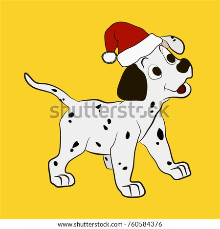 christmas dog coloring page the puppy is smiling and standing in a cap of santa