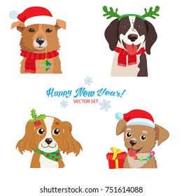 Christmas Dog Faces Collection Vector Set. Symbol Of The Year. Illustration Of Funny Cartoon Dogs In Christmas Costumes. Isolated On White.