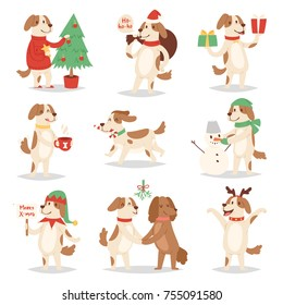 Christmas dog vector cute cartoon 2018 symbol puppy characters illustration couple pets doggy different Xmas celebrate Christmas together in different poses  Santa Red hats