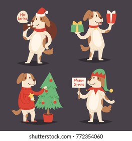 Christmas dog vector cute cartoon puppy character illustration pet doggy Xmas celebrate pose illustration