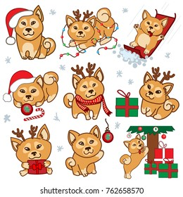 Christmas dog vector set for 2018 year of yellow dog. Vector illustration.