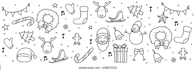 christmas doodle banner. set of christmas hand draw element with white background banner. christmas