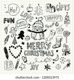 Christmas Doodle Collection. Pencil Drawing. New year drawings. Love, Fun, Joy. Christmas Elements and Symbols