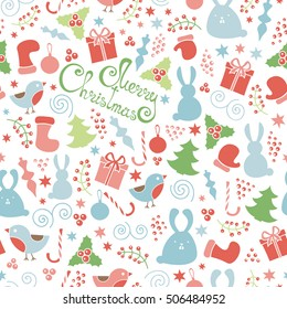 Christmas doodle design elements seamless pattern, vector Merry Christmas background. Winter holiday pattern, cute childish figures.