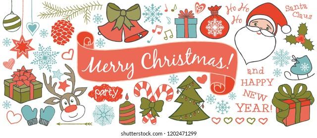 Christmas doodles banner