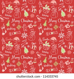 Christmas doodles icons & words seamless vector