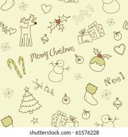 Christmas doodles. Seamless pattern