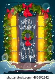 Christmas door. Lettering. Happy new year