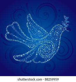 Christmas dove with star