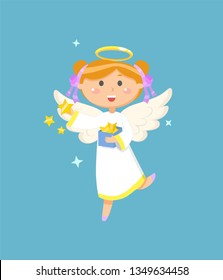 Christmas or Easter symbol, angel with box of stars, religious holiday vector. Girl in dress with halo and wings, heaven creature, Valentines day
