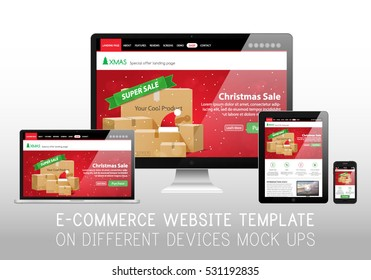 Christmas E-Commerce Online Shop Web Site Landing Page Mockup Template Layout on Smartphone, Tablet, Laptop and Monoblock Vector Illustration
