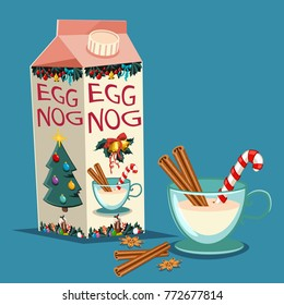 Christmas eggnog in carton package with cinnamon, candy cane and a glass with a drink. Vector set of traditional holiday treats isolated on background.