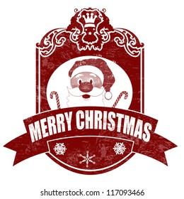 Christmas elegant vintage stamp with santa on white background, vector illustration
