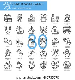 Christmas Element , Thin Line and Pixel Perfect Icons