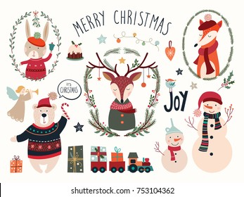 Christmas elements collection with deer and seasonal elements