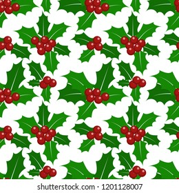 Christmas elements, Holly leaves and berries ornate seamless pattern for greeting cards, wrapping papers etc.