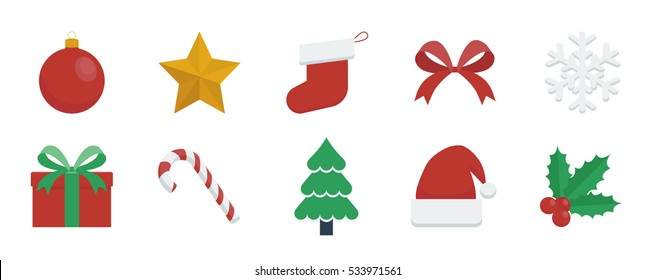 Christmas elements icon vector illustrations set of colorful festive items isolated on a transparent background