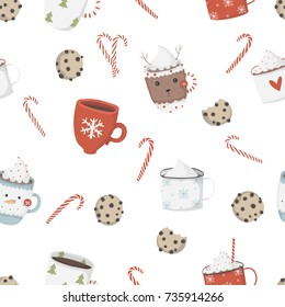 Christmas elements seamless pattern. Cookies and cocoa in cute cozy cups.Traditional design. Vector illustration.
