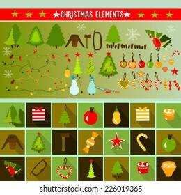 Christmas elements. Vector.