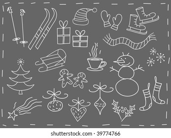 Christmas elements in white - vector version