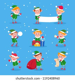 Christmas elf. Baby elves santa claus helpers. Funny winter dwarf vector characters. Illustration of funny character boy, cartoon costume gnome