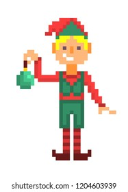 Christmas elf boy with a green toy, pixel art character isolated on white background. 8 bit retro old school 80s; 90s slot machine/video game grapics. Santa's helper.