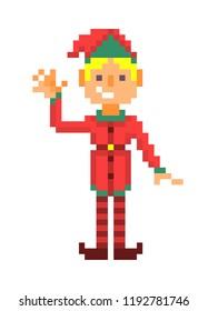 Christmas elf boy waving, pixel art character isolated on white background. 8 bit retro old school 80s; 90s slot machine/video game grapics. Santa's helper.