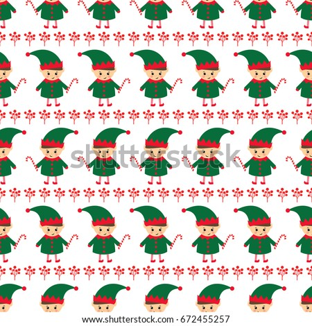 Christmas Elf Candy Cane Xmas Berries Stock Vector Royalty Free Simple Elf Pattern