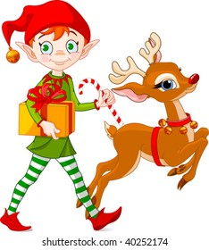 Christmas elf carries gifts together with Rudolph The Red-nosed Reindeer