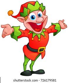 Christmas elf in cartoon style