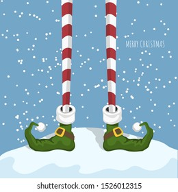 Christmas elf in cartoon style. Santa's helper in green shoes. Greeting card with funny legs. Fantasy character standing on snow. Vector illustration