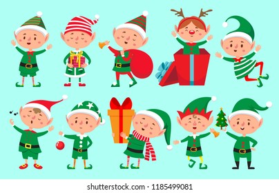 Christmas elf character. Santa Claus helpers cartoon, cute dwarf elves fun characters, santas helper, Xmas little green fantasy assistant winter 2019 vector isolated icons set