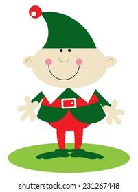 Christmas elf dressed in green