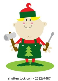 Christmas elf dressed in green with workshop tools