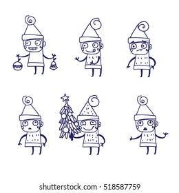 Christmas elf. emotions. Set. Vector sketch.