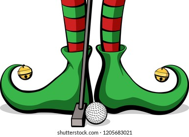 Christmas elf feet with a golf ball and putter
