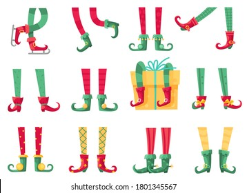 Christmas elf feet. Santa claus helpers, cute elves legs in boots and striped socks. Dwarf leg and gifts, xmas present and postcards cartoon vector isolated set
