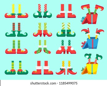 Christmas elf feet. Shoes for elves foot, Santa Claus helpers dwarf leg in pants, funny striped socks and boots. Xmas 2019 present and winter gifts isolated vector icons set