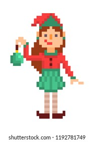 Christmas elf girl with a green toy, pixel art character isolated on white background. 8 bit retro old school 80s; 90s slot machine/video game grapics. Santa's helper.