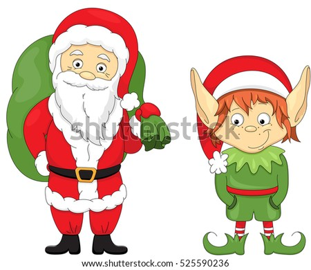 christmas elf and santa coloring book for kids