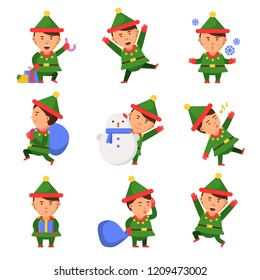 Christmas elf. Santa helpers dwarfs in action pose vector funny characters celebration persons kids. Illustration of xmas elf and helper santa with snowman or sack