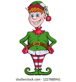 Christmas elf. Set of different elves for christmas. Different new year characters. Santa Claus helpers. New Year characters in the form of Christmas elf. Merry Xmas design element.