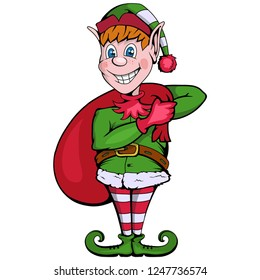Christmas elf. Set of different elves for christmas. Different new year characters. Santa Claus helpers.