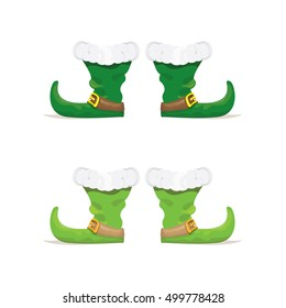 christmas elf shoes. vector green boots