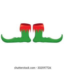 christmas elf shoes. vector illustration