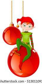 Christmas Elf sitting on Christmas ball