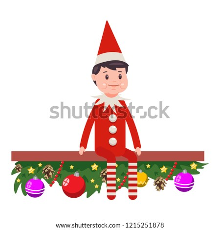 abdb1a93624 Christmas Elf vector cartoon cute character isolated on white background.