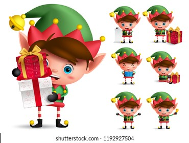 Christmas elf vector character set. Boy elves with green costume holding gifts and playing isolated in white background. Vector illustration.
