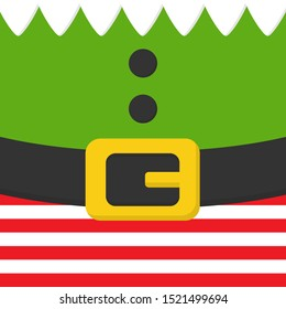 Christmas elf vector illustration. Festive elf body, clothes simple square icon. White collar, green shirt with buttons, red and white striped pants with black belt with yellow, gold buckle.