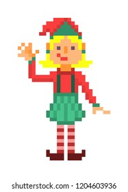 Christmas elf waving, pixel art character isolated on white background. 8 bit retro old school 80s; 90s slot machine/video game grapics. Santa's helper.